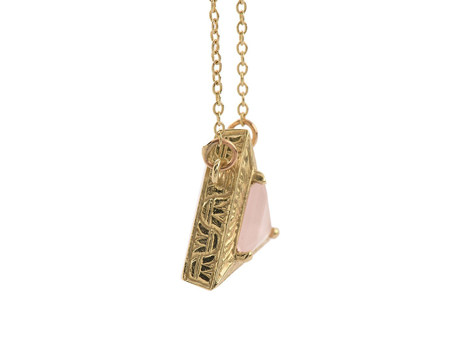 Rose Quartz 14KT Gold Egyptian Pyramid Necklace