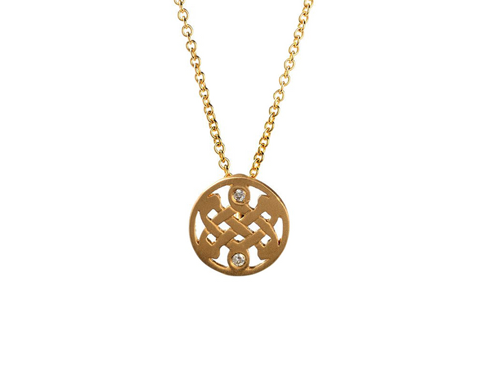 Mini 14K Gold Diamond Celtic Love Knot Necklace