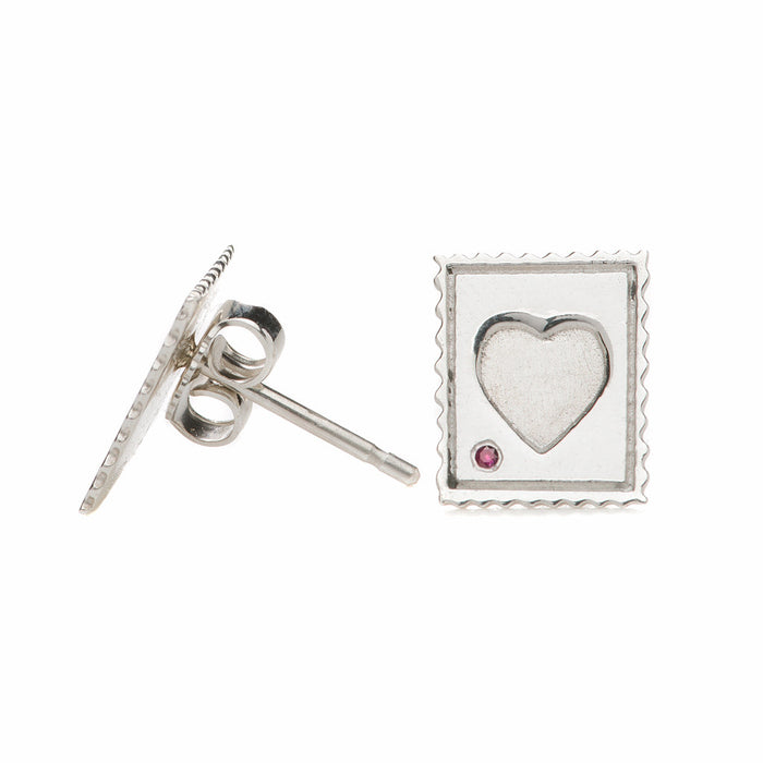 Mini Love Stamp Stud Earrings