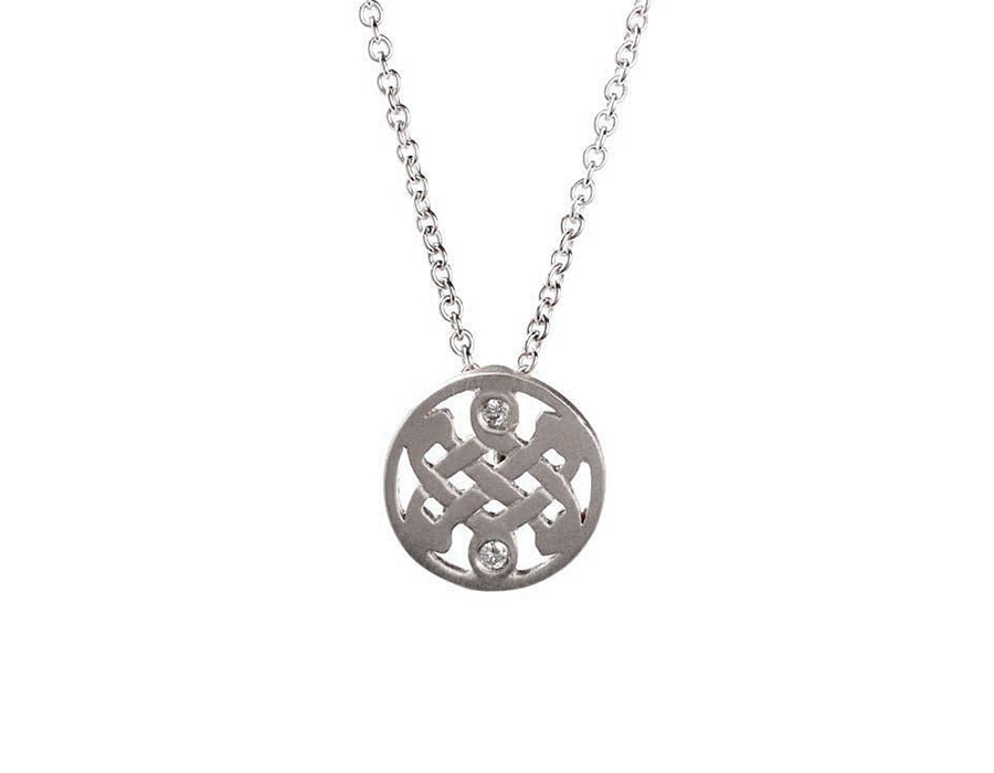 Mini Sterling Silver Diamond Celtic Love Knot Necklace