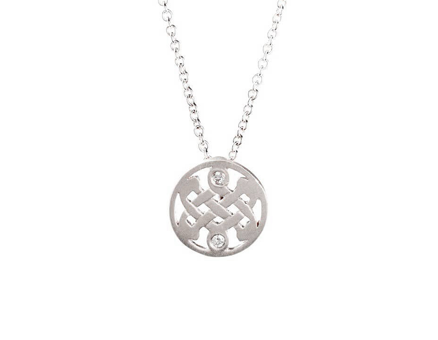 Mini White Gold Diamond Celtic Love Knot Necklace