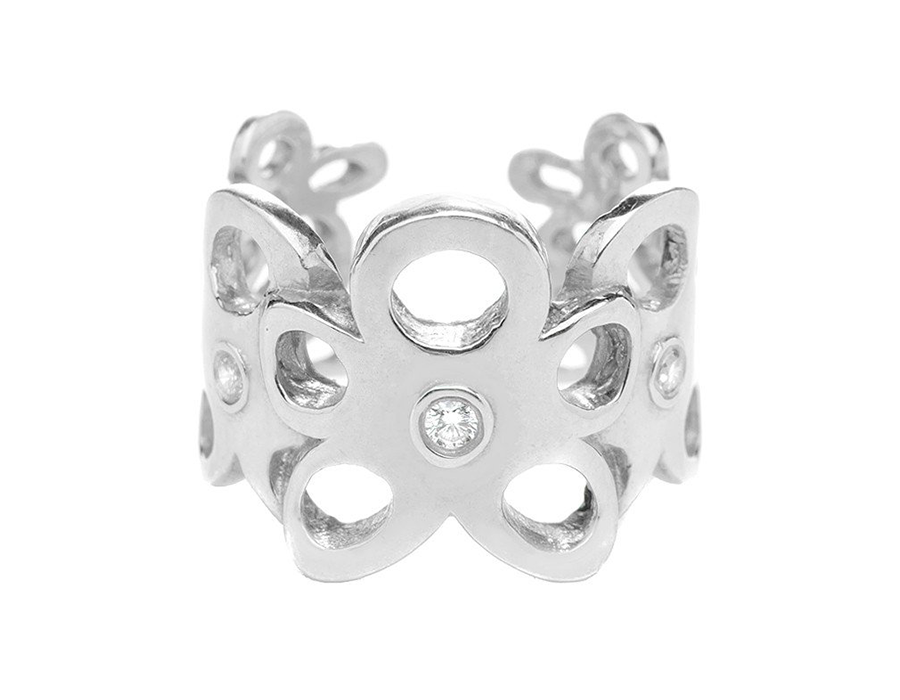 Crystal Cut-Out Daisy Chain Ring