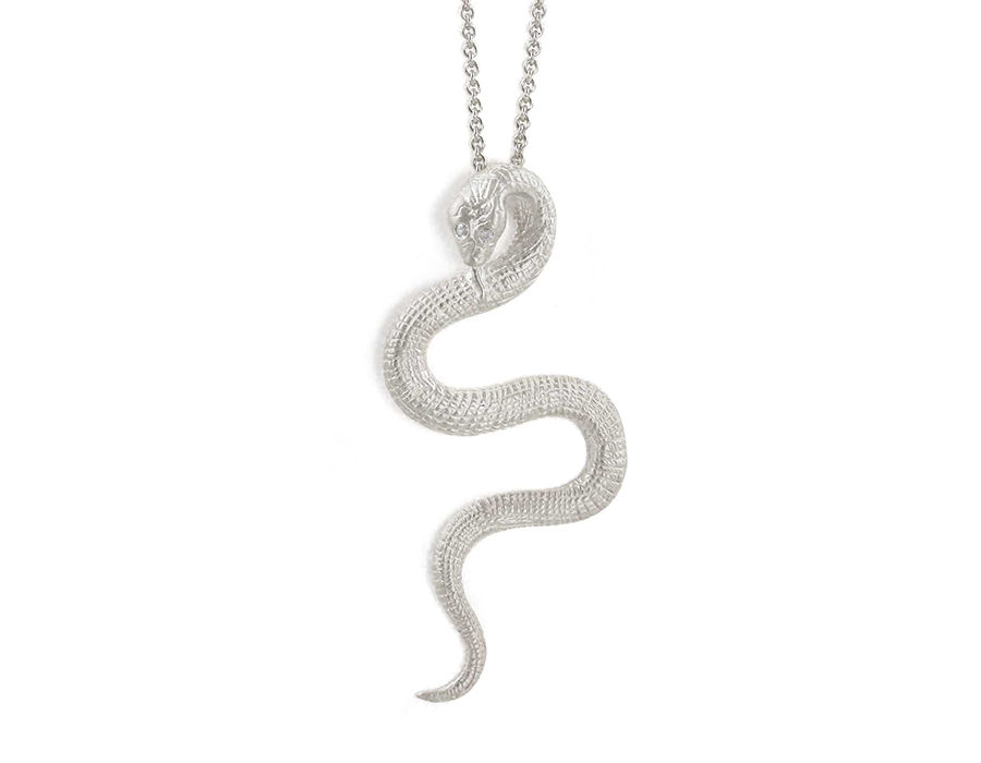 Sterling Silver Snake Necklace with Cubic Zirconia Eyes