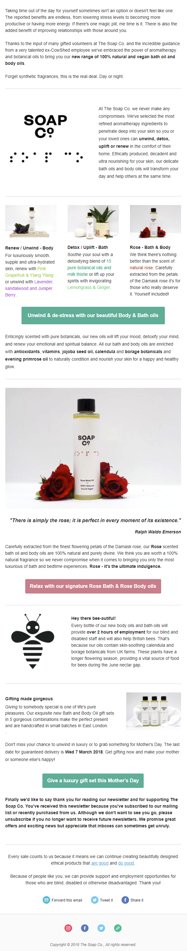 The Soap Co. Body Oils and Bath Oils for Mother's Day