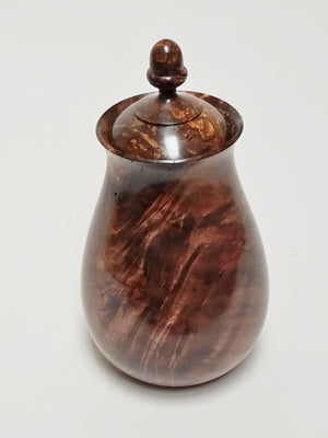 Figure black walnut lidded vase w/acorn funal #55 by David Linden