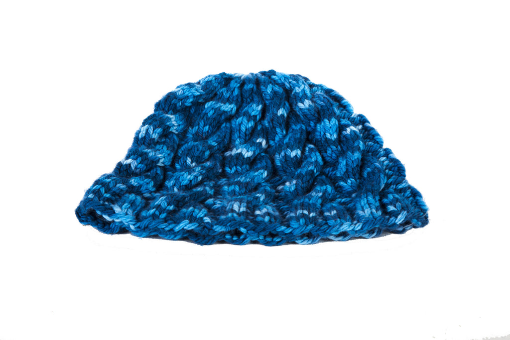 Blue Cable Knit Hat by Marsha R. Maupin