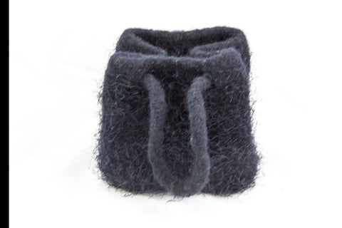 Small Knitted Black Felted Purse