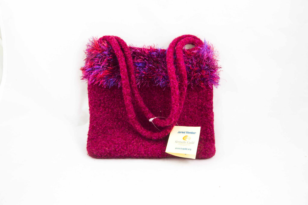 Hand Knitted & Felted Rose Purse