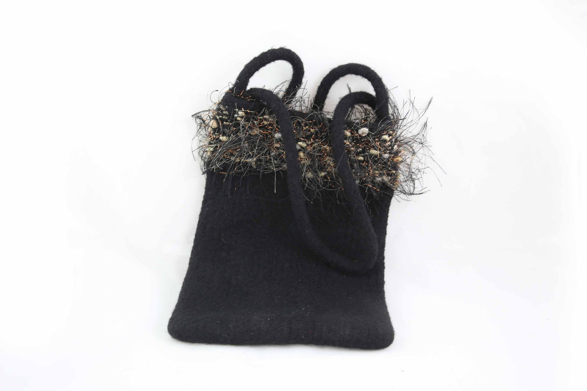 Hand Knitted & Felted Embellished Purse by Marsha R. Maupin
