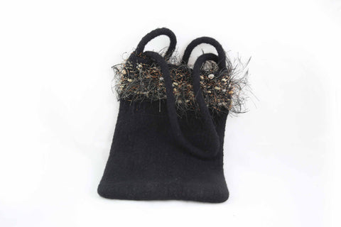 Hand Knitted & Felted Embellished Purse