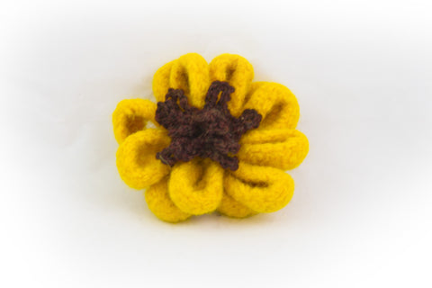 Crocheted Felted Sunflower Pin