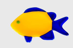 Yellow/Blue Fish Dish by Teresa Howard