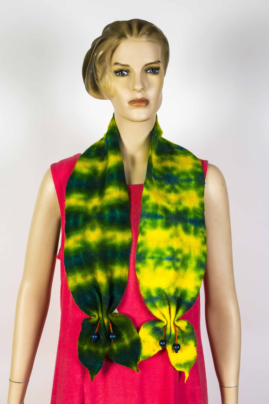 Shibori Scarf (Yellow & Green) by Sylvia Brestel