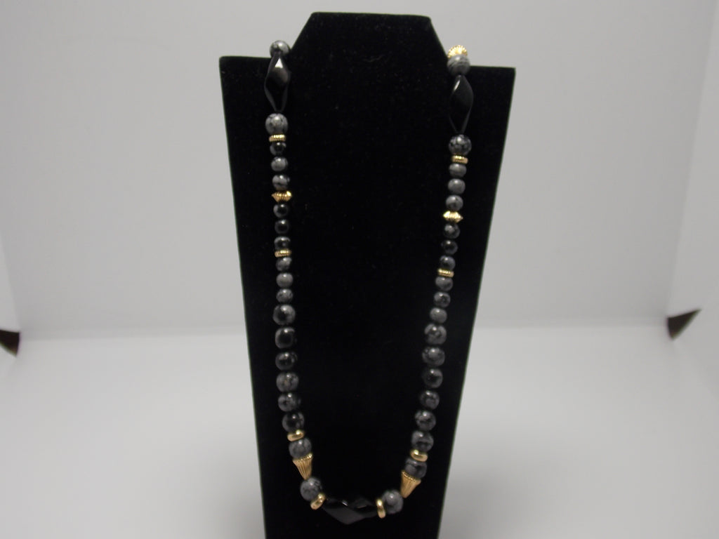 Obsidian and Onyx bead necklace with 14K gold clasp and beads by Dave Ely