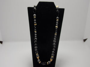 Obsidian and Onyx bead necklace with 14K gold clasp and beads