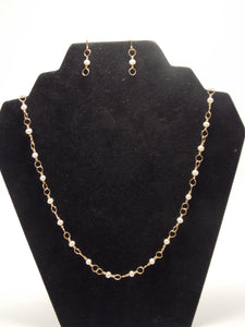 "Gold filled interlocking wire and cultured pearl necklace 20"" chain by JoAnna Dickey"