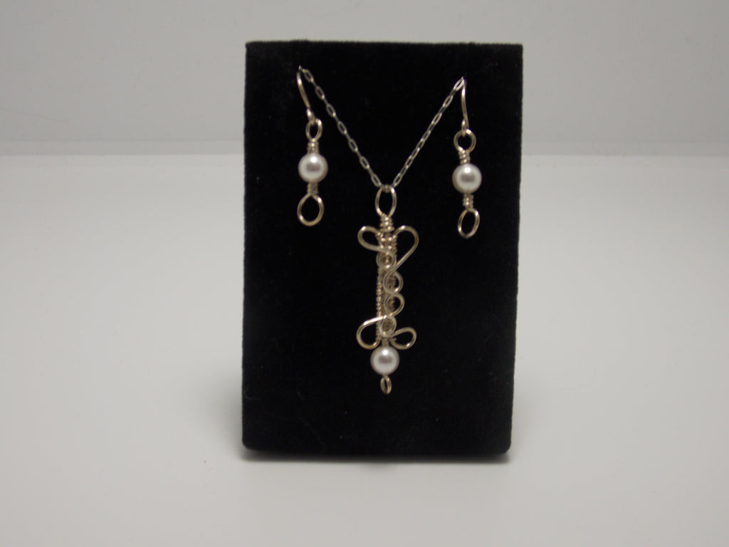 "JoAnna Dickey - Sterling Silver bar pendant with glass pearl beads and 18"" chain plus matching earrings by JoAnna Dickey"