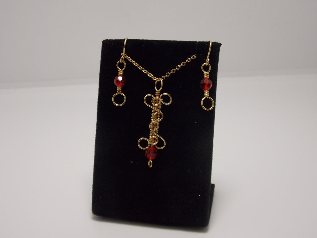 "Gold filled bar pendant with red crystals and 18"" chain plus matching earrings by JoAnna Dickey"