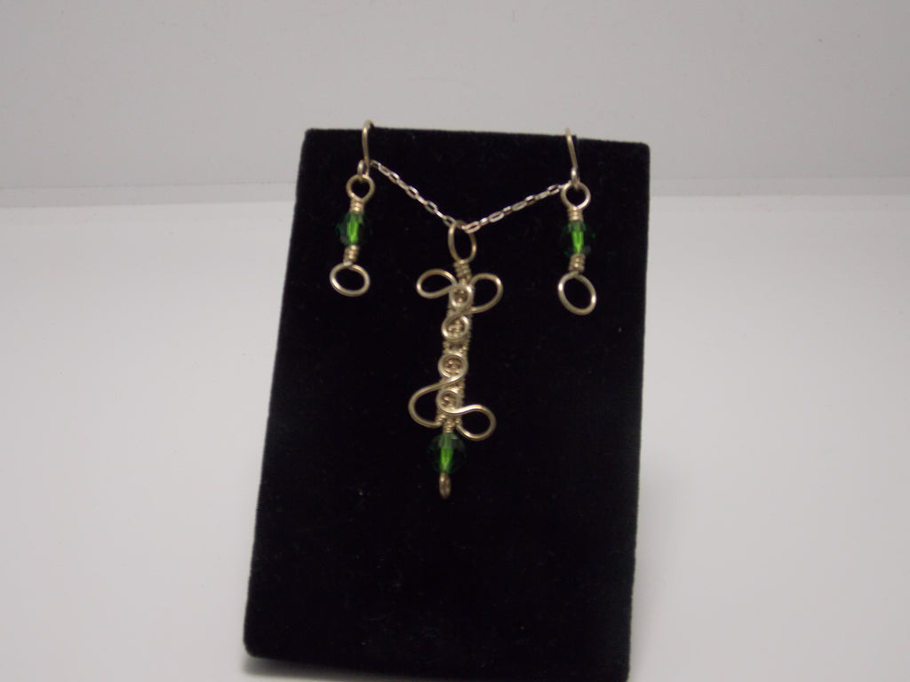 "JoAnna Dickey - Sterling Silver bar pendant with green crystal beads plus 18"" chain and matching earrings by JoAnna Dickey"