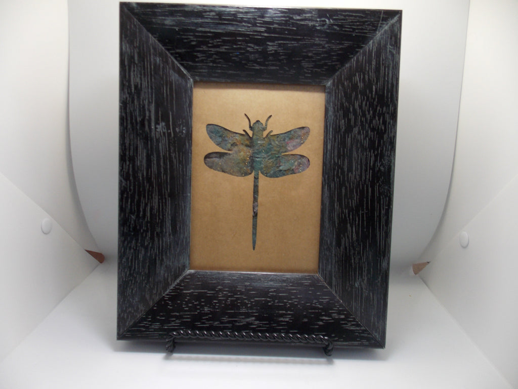 "Framed ""Fabric Dragonfly"" by Cindy Houston"