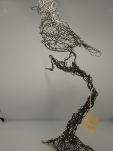 Wire Bird on Branch by Dacelle Peckler