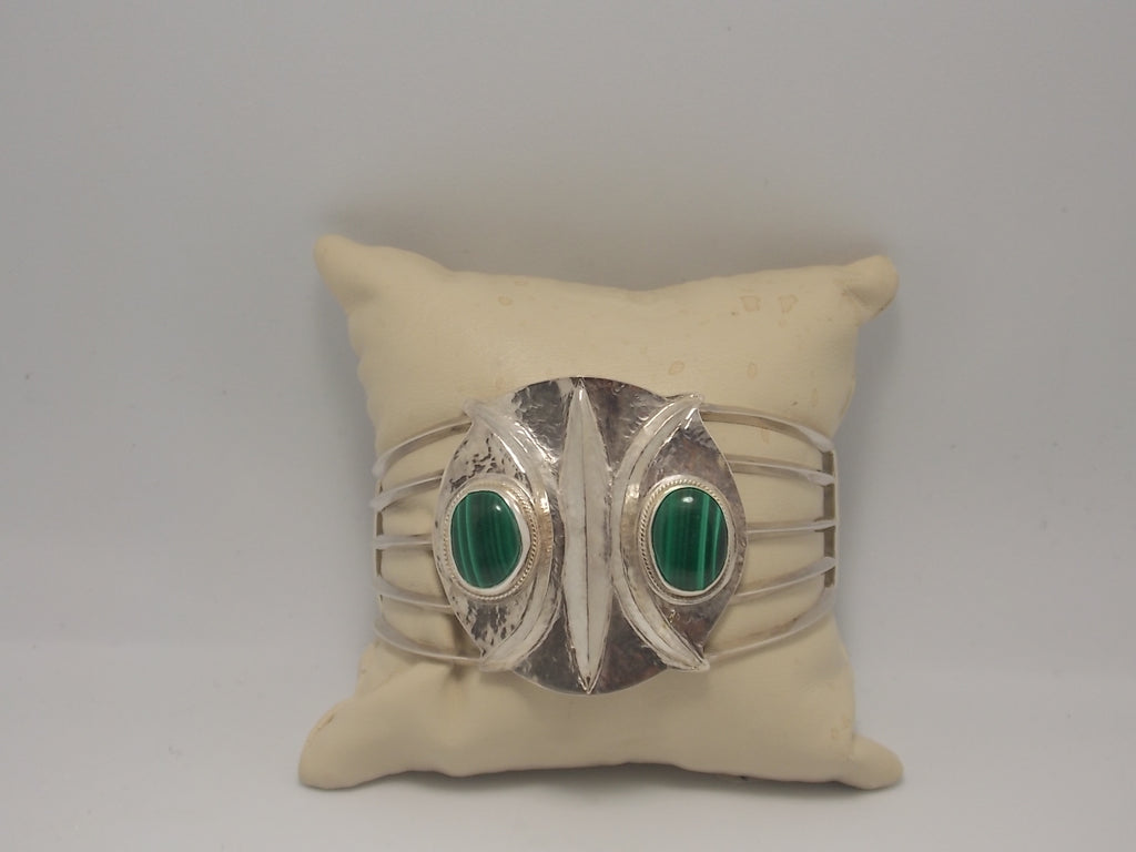 "Sterling and Malachite ""Eyes of wisdom"" cuff bracelet by Dave Ely"