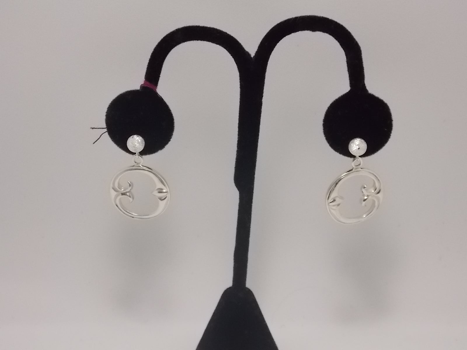 "Sterling ""Eye of moon"" plain with post ear rings by Dave Ely"