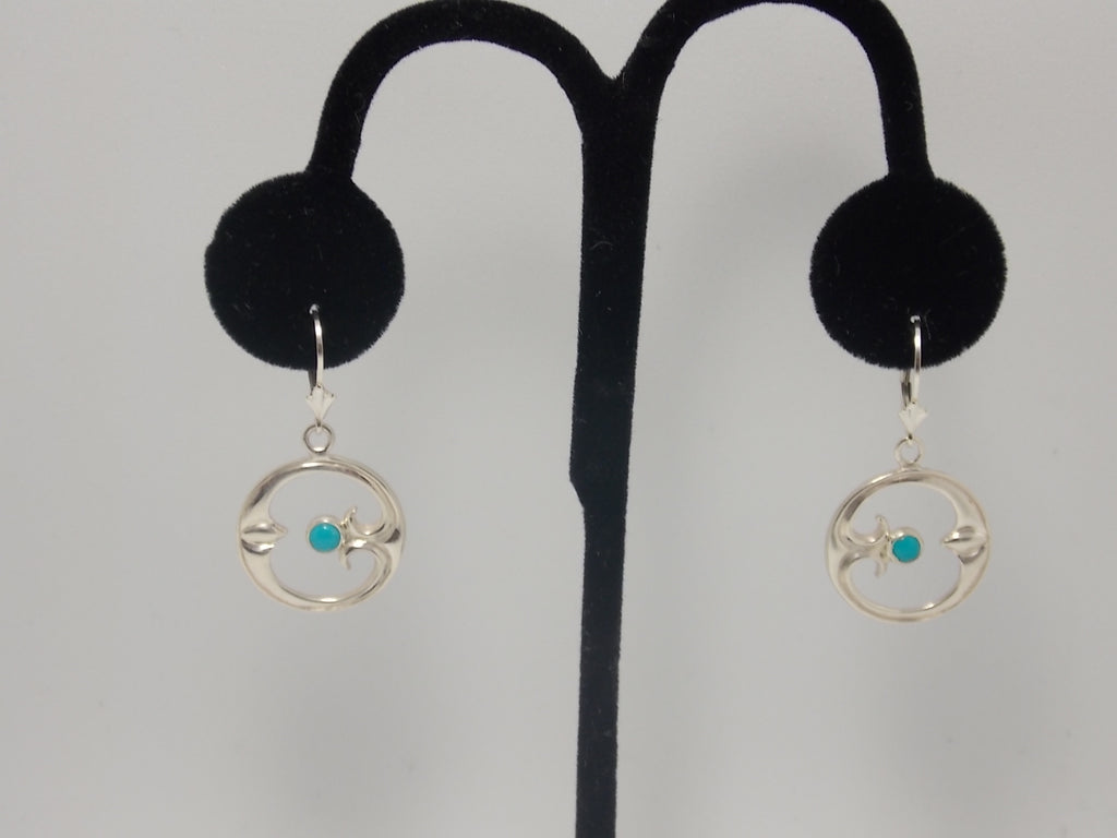 """Eye of moon"" sterling and turquoise ear rings with lever backs by Dave Ely"