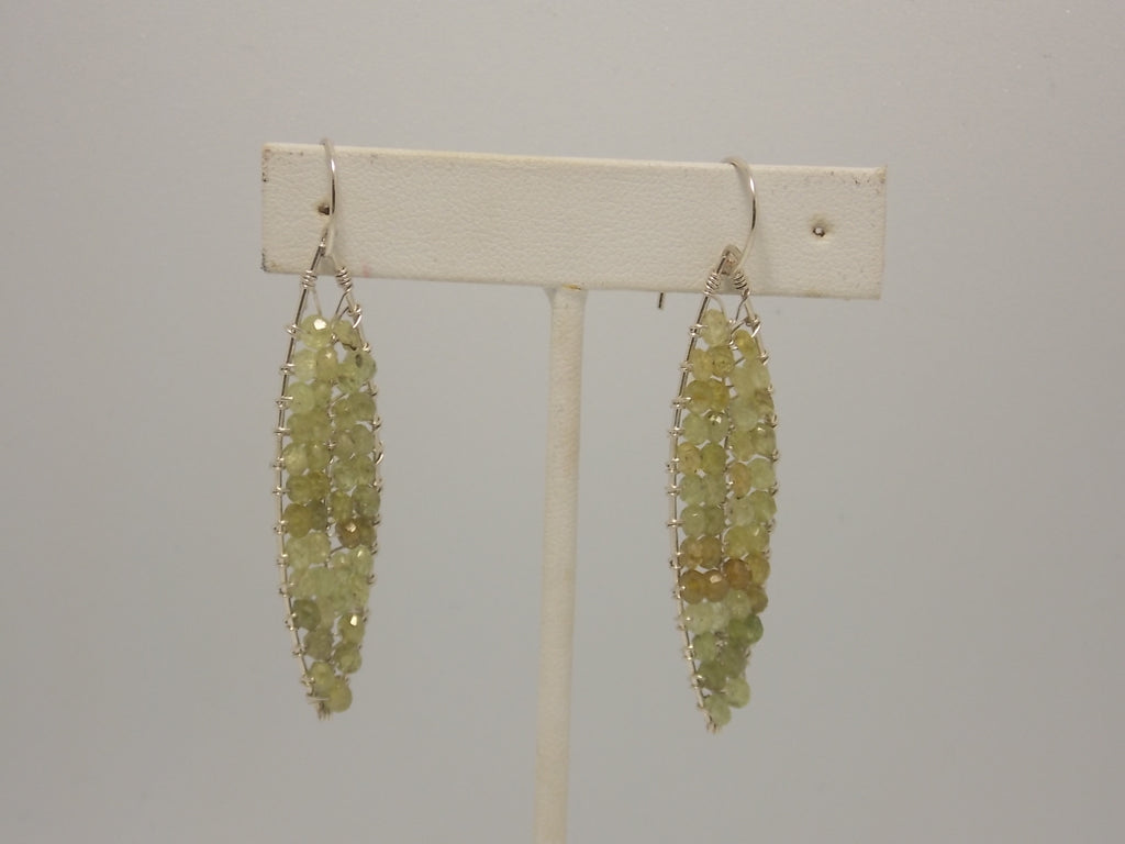 Sterling silver and green beryl earrings by Balbina Meyer