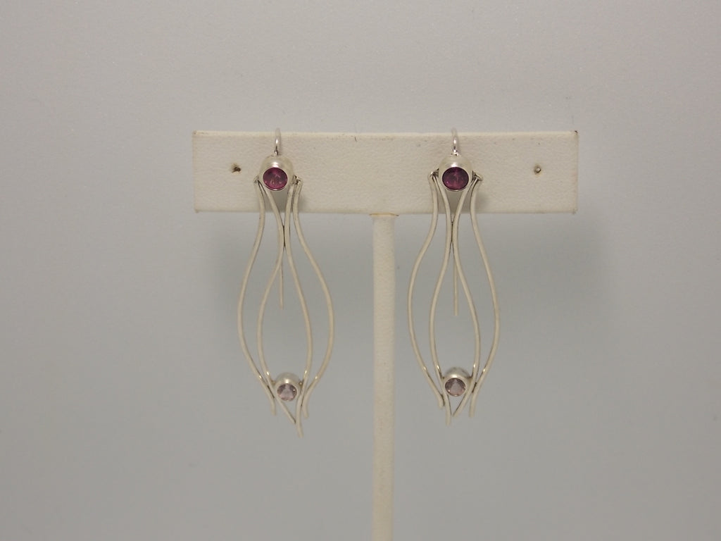 Sterling silver and pink tourmaline earrings by Balbina Meyer