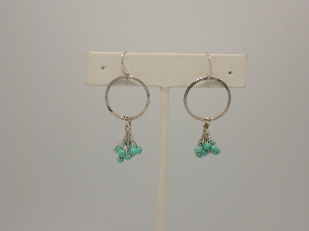 Sterling silver and turqoise stone earrings by Balbina Meyer