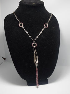 Sterling silver and rodolite garnet necklace by Balbina Meyer