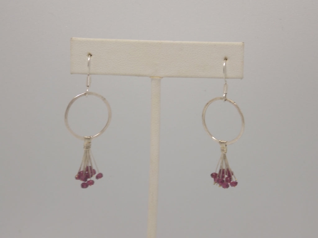 Sterling silver and rodolite garnet stone earrings by Balbina Meyer