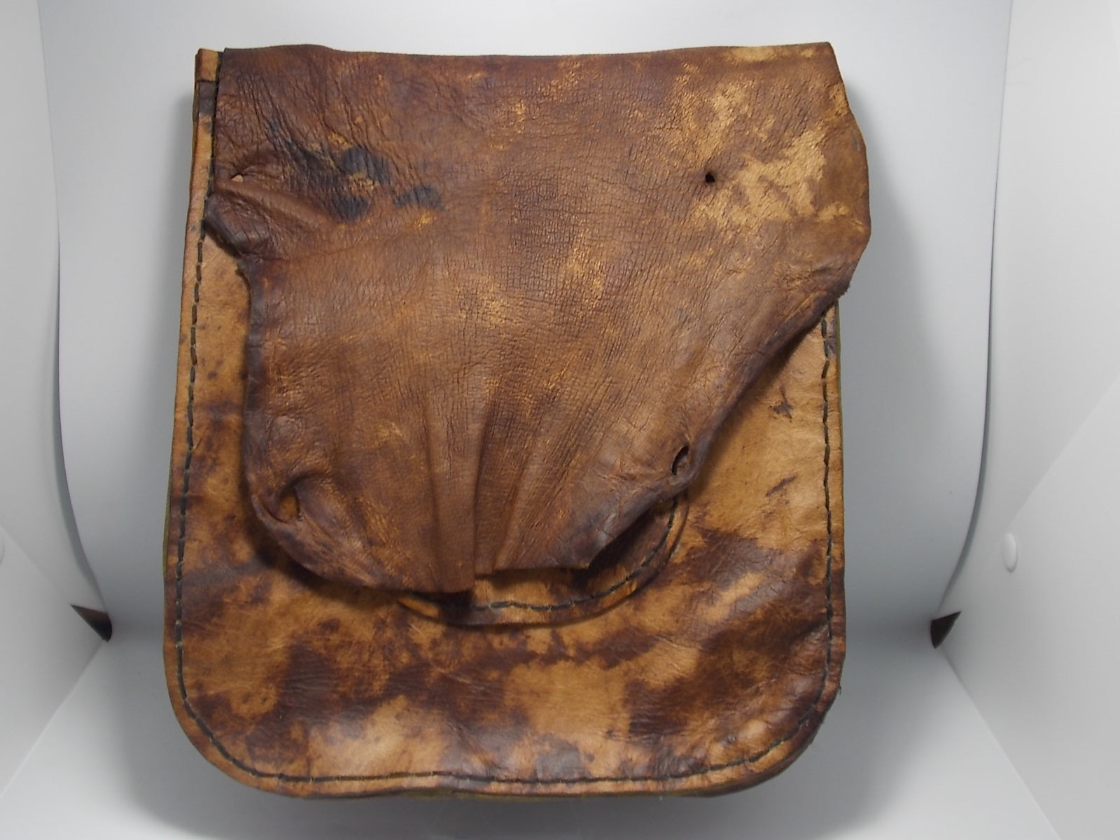 Bark tanned red stag bag by Russel Dahlstrom