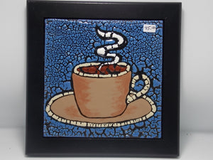 "6"" Coffee cup tile by Pam White"