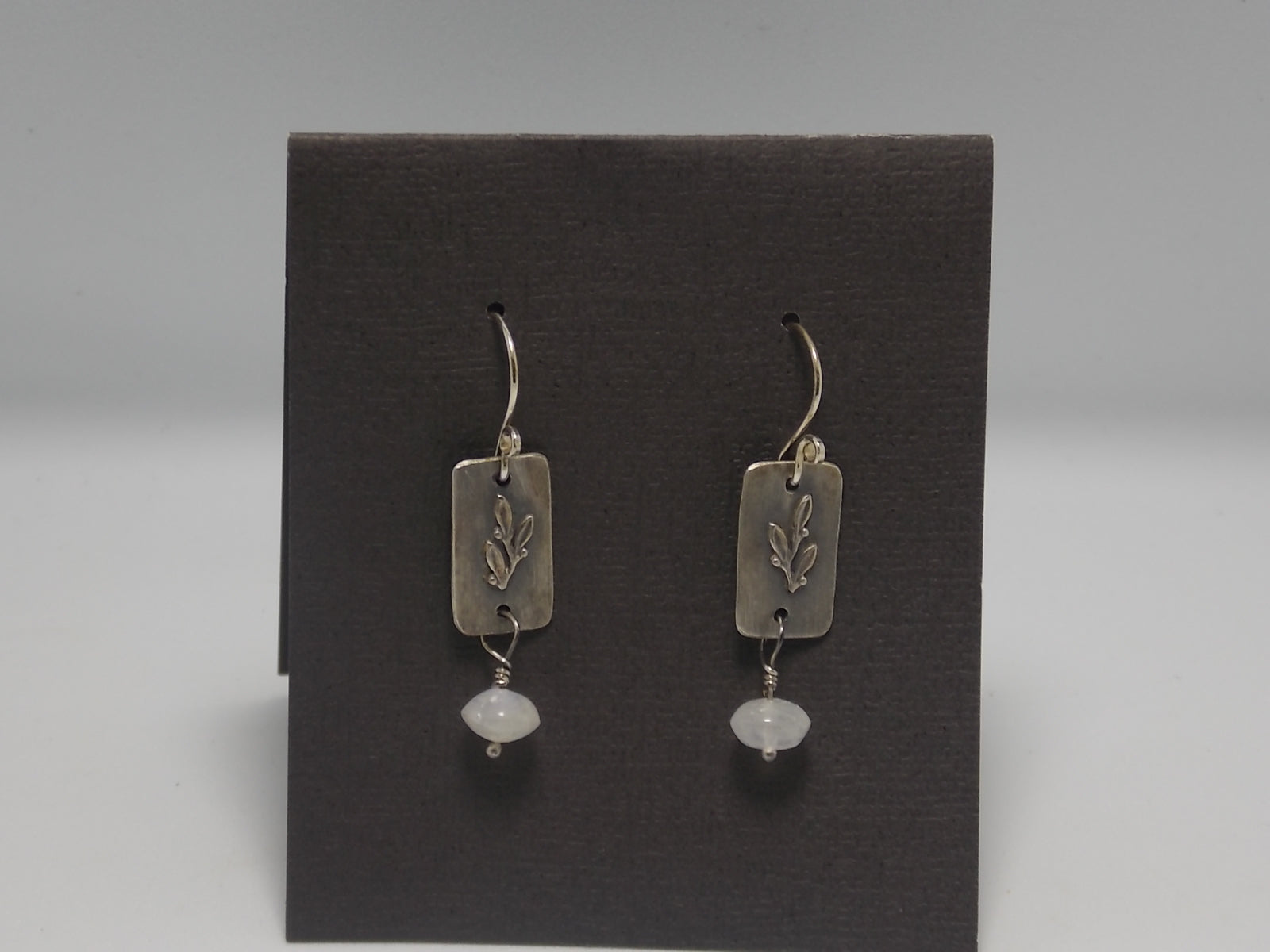 Laurel leaf earrings with moonstone by Rebecca Wheat