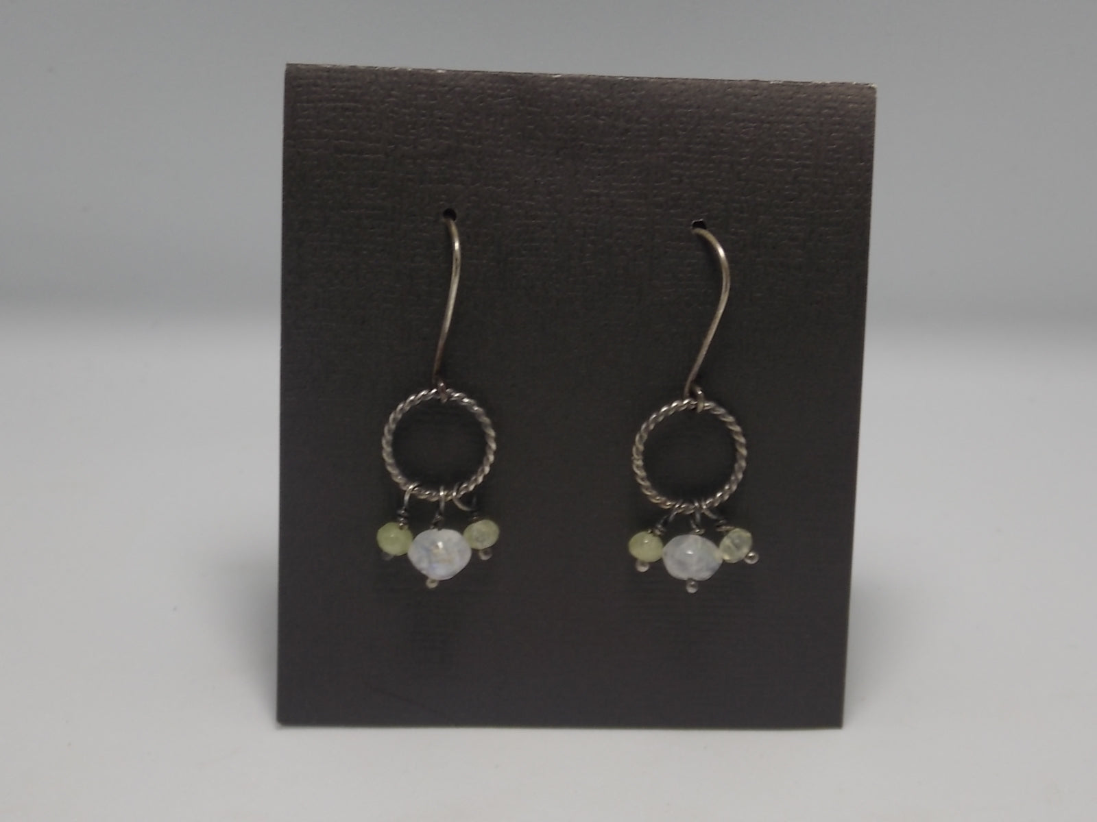 Prasiolite and Moonstone twist ring earrings by Rebecca Wheat