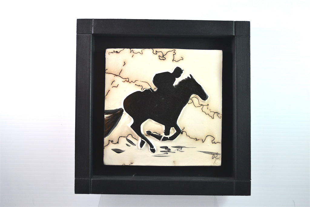 Horse Tile With Rider by Henrietta and Jeffrey Scott