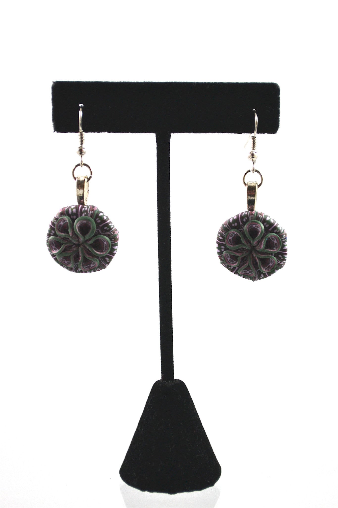 Polymer Clay Purple Earrings (CE1) by Diana Thomas