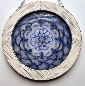 Blue and White Mandala by Dorothy Cline