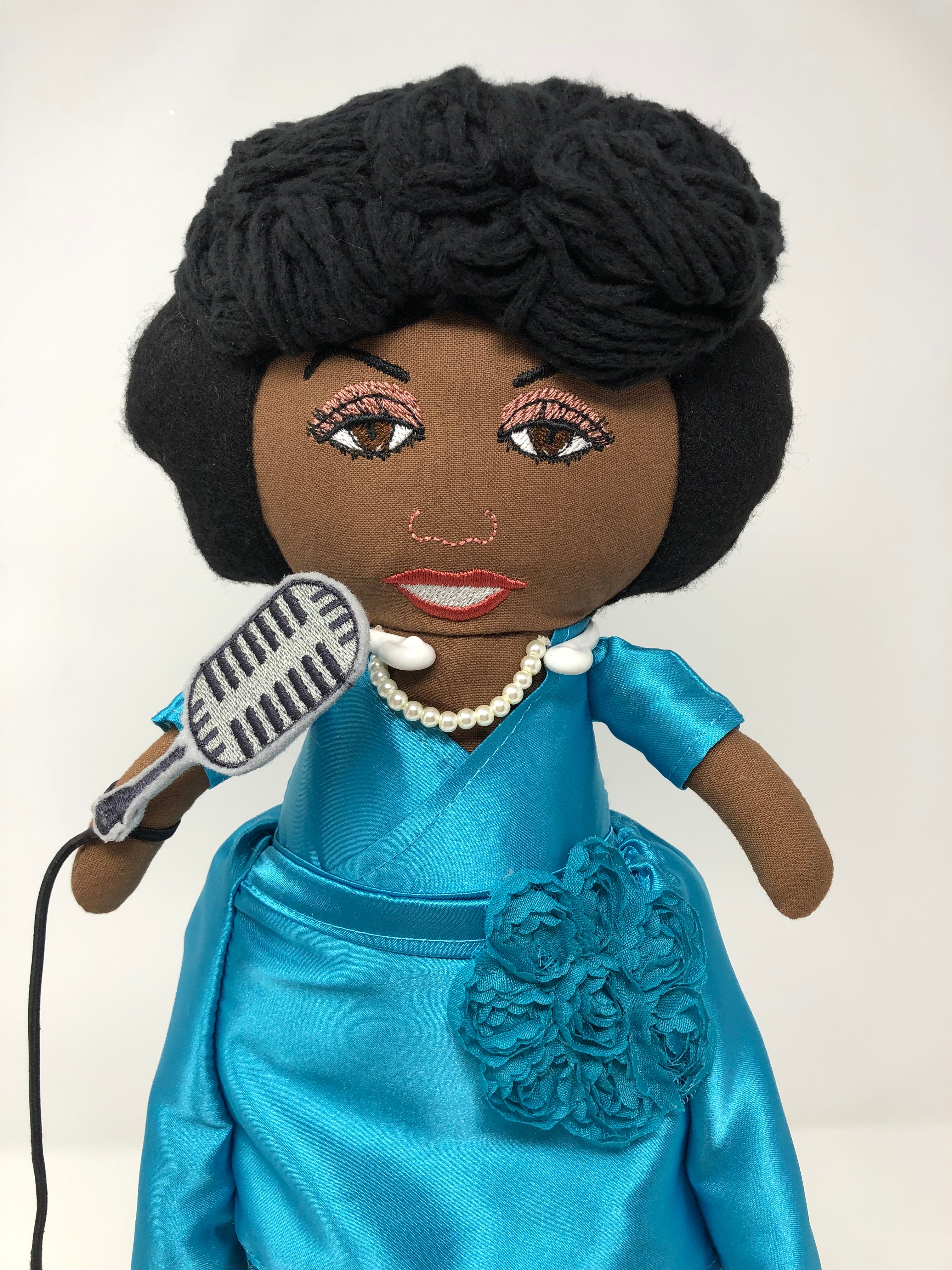 The Jazz singer- Ella Fitzgerald-inspired soft doll with machine embroidery