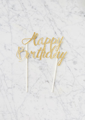Happy Birthday Gold-Glitter Cake Topper