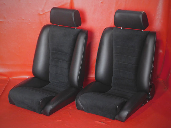 "Porsche 911 '69-'89 Sport ""S"" Seat Set w/ Lower Seat Position Leatherette / Corduroy<j>"