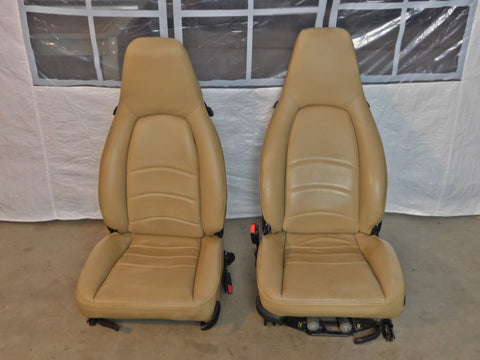 '92-'98 Porsche 911/993/968 Tan Leather Front Seat Set - See Description For Fit