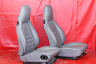 Porsche 911 944 964 Early 968 Grey Leather Power Crested Seat Set  #028