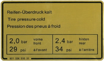 Porsche '73-'83 911 Tire Pressure Sticker<j>
