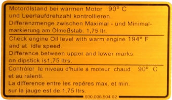 Porsche '80-'89 911 Engine Oil Level Sticker<j>