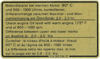 Porsche '77-'80 911 Engine Oil Sticker<j>