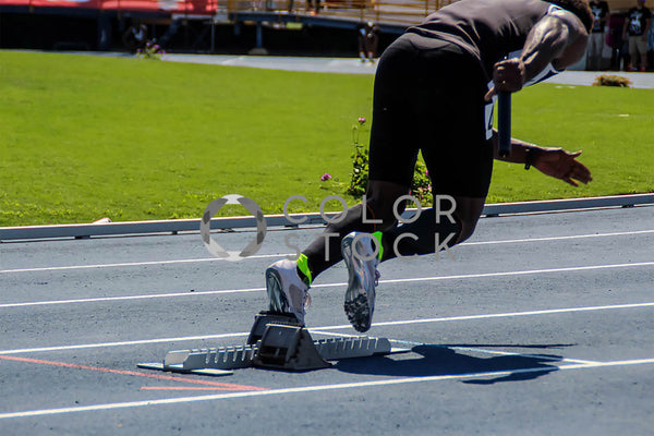 Athlete running track - 100 meters - Colorstock™  © Tee Dubose  - diverse stock photos