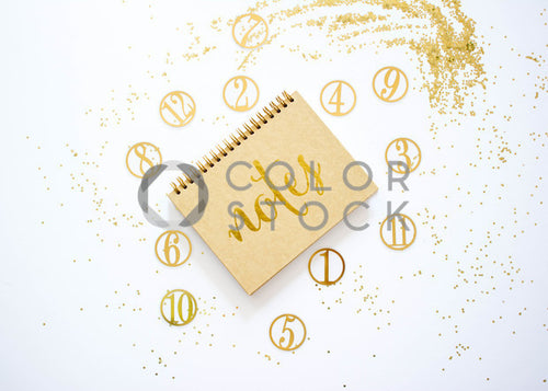 Golden notes 2 - desktop flat lay